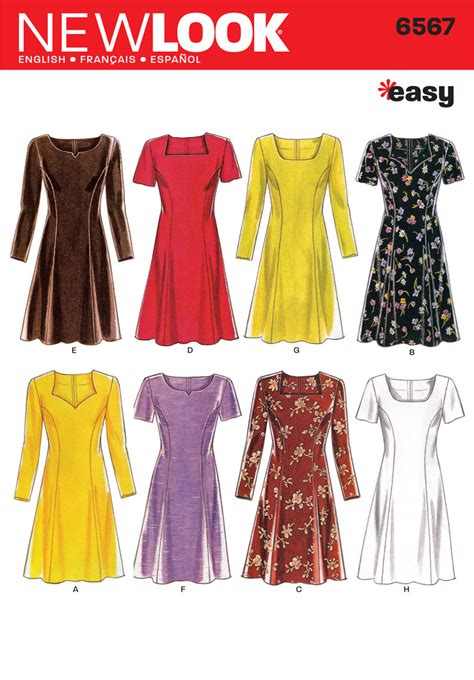 pattern for a dress simple new look pattern nl6567 misses dress easy jaycotts co