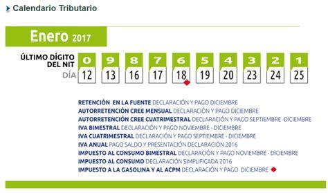 Calendario Tributario 2017 Iva Calendario Tributario Enero 2017