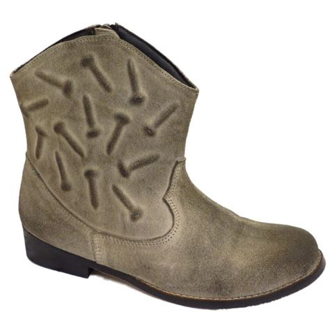 ankle cowboy boots womens cowboy boots womens grey rubbed suede leather western