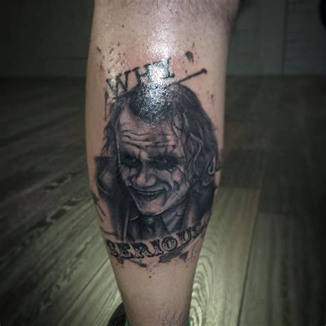 black and grey joker tattoo joker portrait tattoo heath ledger leg tattoo black and