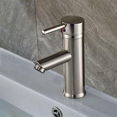 single bathroom sink faucet brushed nickel single basin faucet one handle bathroom sink mixer
