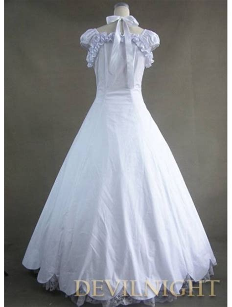 classic white lace  bow gothic victorian dress