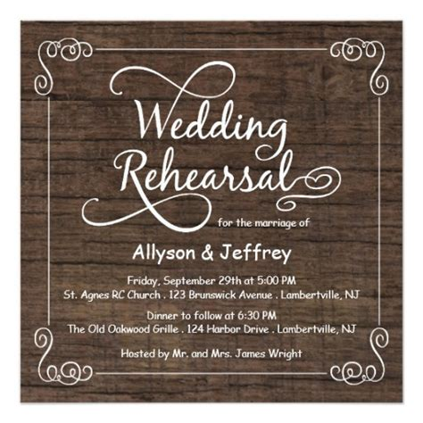 wedding rehearsal dinner invitations rustic wood wedding rehearsal dinner invitations zazzle