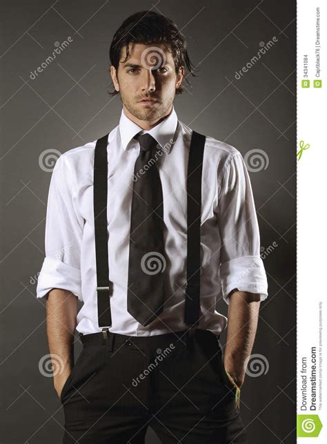 handsome fashion model with black tie stock images image