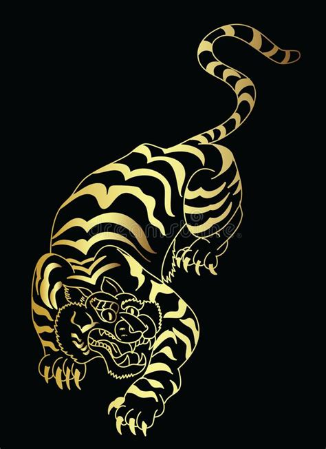 gold japanese tiger tattoo design vector stock vector