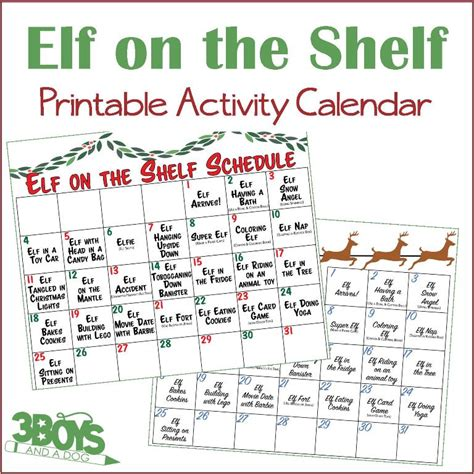 printable elf activities elf on the shelf printable calendar 3 boys and a dog