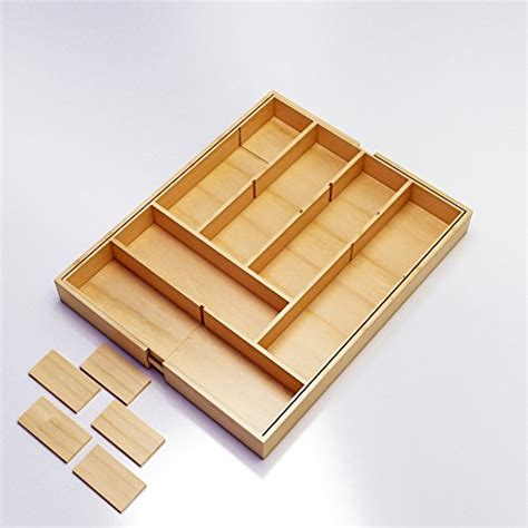 expandable kitchen bamboo tray drawer organizer flatware