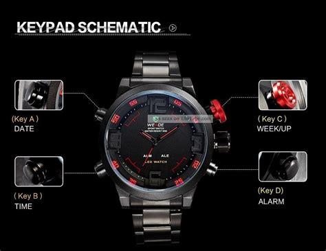 Jam Tangan Weide Original Wh 6306 Dual Time Silver Black herren armbanduhr mit led licht digitalanzeige datum alarm