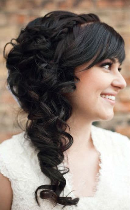 bridal hairstyles down to the side long wedding hairstyle to the side