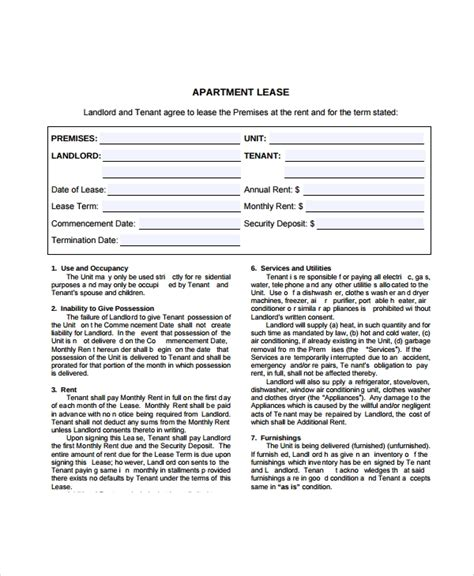 8 Apartment Lease Agreement Sles Exles Templates Sle Templates Apartment Lease Contract Template