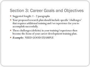 Example Of Career Goals And Objectives Writing Nih Career Development K Awards Ppt Download