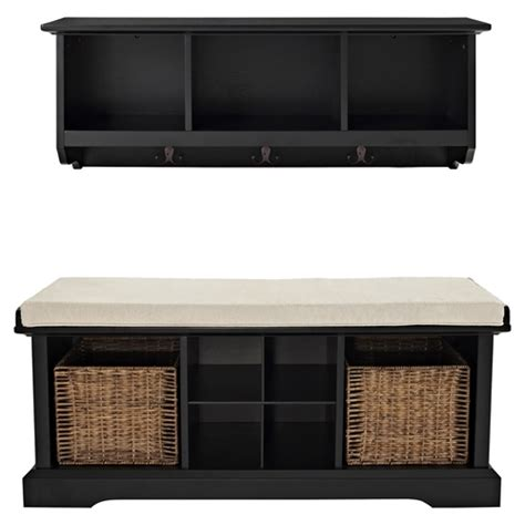 bench and shelf set brennan 2 pieces entryway bench and shelf set black