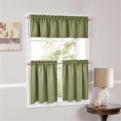 Facets Sage Room Darkening Blackout Insulated Kitchen Kitchen Valances Curtains