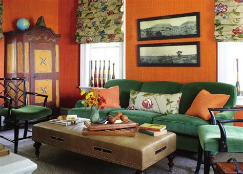 orange glasscloth  green velvet interiors  color
