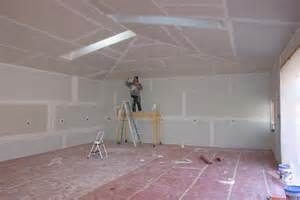 garage on the land drywall finishing ceiling