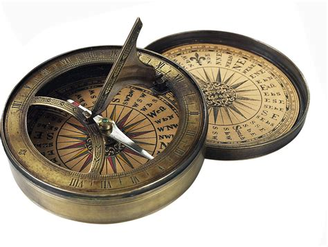 antique compass 18th c and sundial