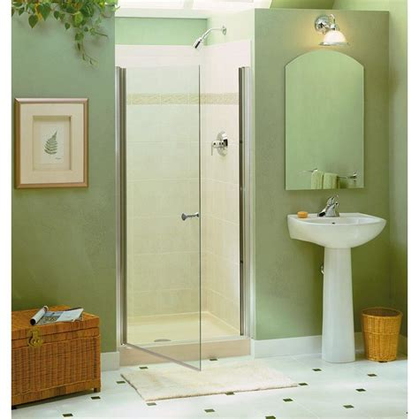 Sterling Frameless Shower Door Sterling Finesse 34 In X 65 1 2 In Semi Frameless Pivot Shower Door In Silver 6305 34s The