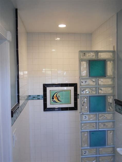 glass block showers small bathrooms prefabricated glass block sections during a small san