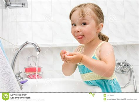 little girls bathroom little girl in bathroom stock photography image 15139262