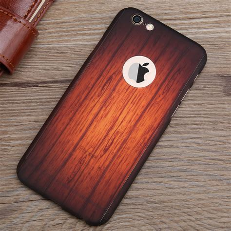 Casing Iphone 5 5s Cover 360 Free Tempered Glass 360 176 hybrid wood pattern cover tempered glass for