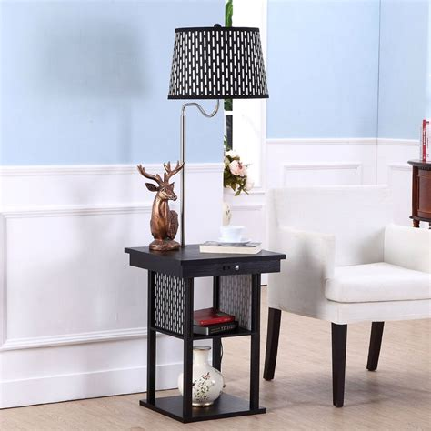 floor l with usb port in floor l side table with patterned shade and usb