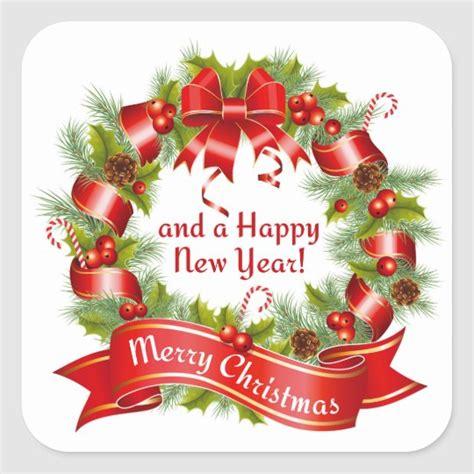 wreath merry christmas   happy  year square sticker zazzlecom