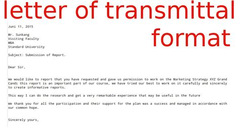 Transmittal Letter For A Report Letter Of Transmittal Format Sles Business Letters