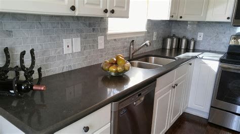 Gray Caesarstone Kitchen by Caesarstone Piatra Grey Quartz Countertop With Carrara
