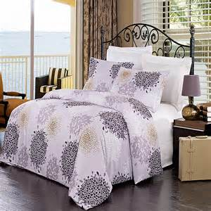 Duvet Patterns Luxury Lilac Purple Ivory Gold Printed Pattern Microfiber