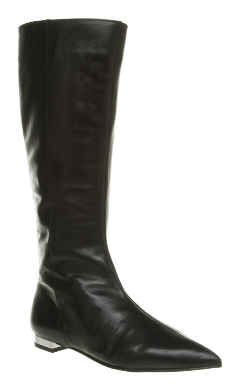 black boots for womens office jam flat pointy black leather boots shoes ebay