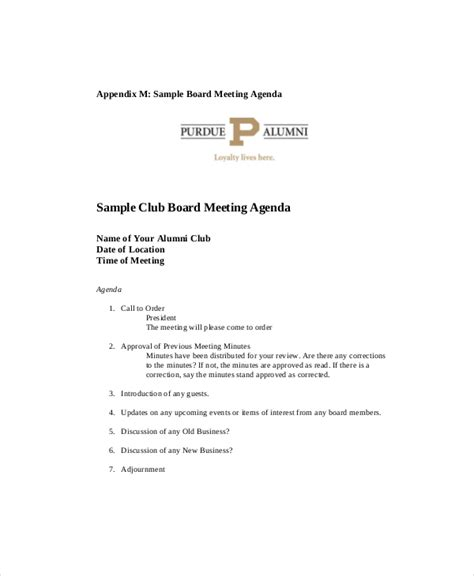 Club Template by Club Meeting Agenda Template 7 Free Word Pdf Documents