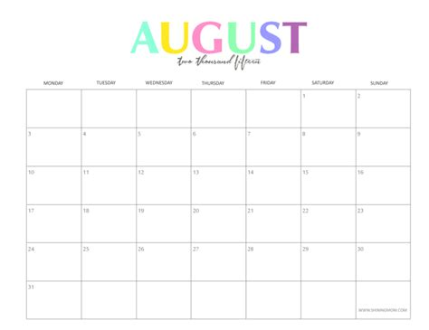 August Printable Calendar 2015 The Colorful 2015 Monthly Calendars By Shiningmom Are