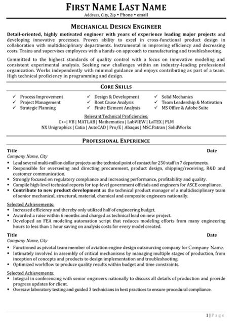 Resume Sles For Design Engineers Mechanical Mechanical Design Engineer Resume Sle Template