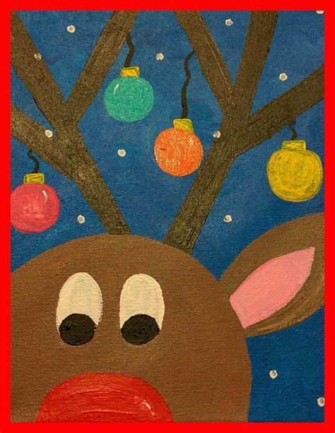 guided art reindeer on canvas teachers pin teachers