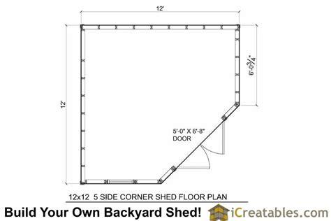 floor plans for sheds 12x12 5 sided corner shed plans