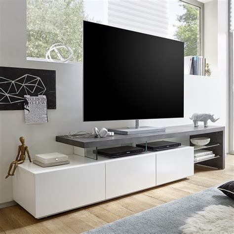 modern tv console alanis modern tv stand in concrete and matt white with