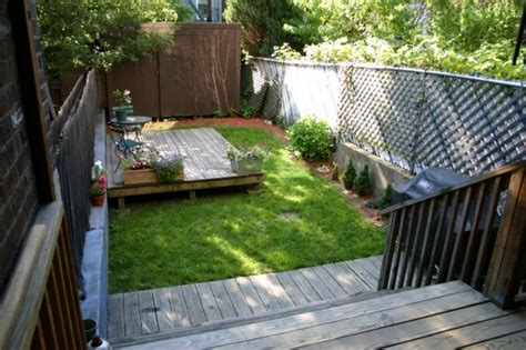small spaces backyard landscape house with deck and patio