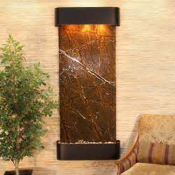 brown colored wall mounted indoor water fountain for