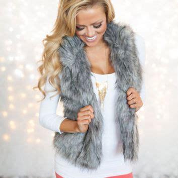 light grey faux fur vest foxy faux fur vest light gray from modern vintage boutique