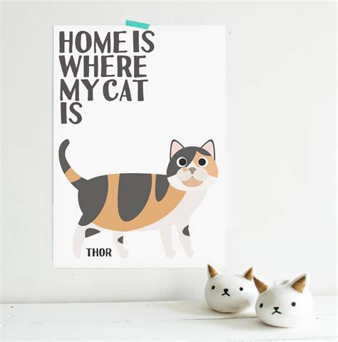 design works home is where the cat is home is where my cat is custom calico cat name print by