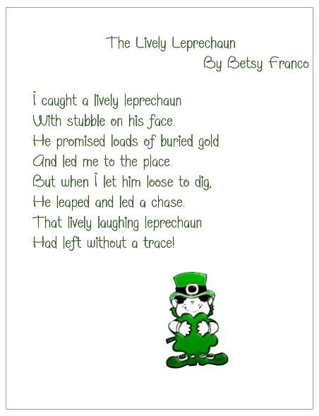 poem from a leprechaun shamrock acrostic poem poem them the lively leprechaun poem for st patrick s day free