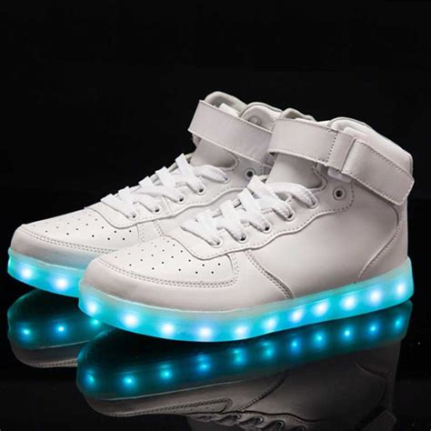 led shoes for plus size microfiber leather luminous led shoes for adults