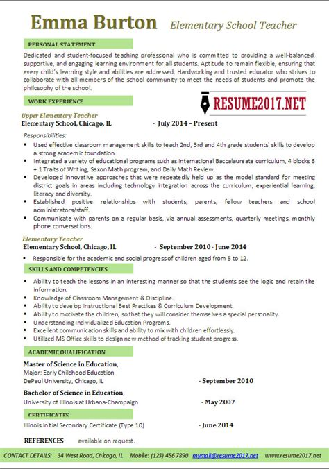 exceptional teaching resume template early childhood director resume sle