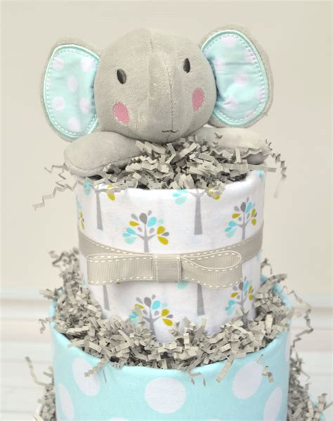 elephant themed bathroom diaper cake for elephant theme baby shower by babyblossomco