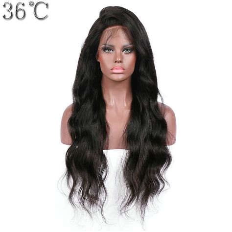 body wave hair with bangs 36c body wave full lace human hair wigs with bangs 100