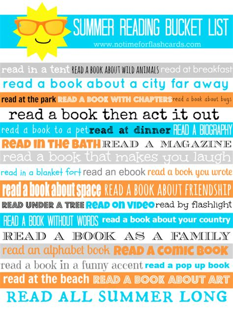 reading themes list summer reading bucket list with free printable no time