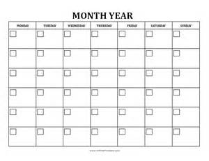 Free Printable Monthly Calendar Template by Blank Monthly Calendar Free Printable Allfreeprintable