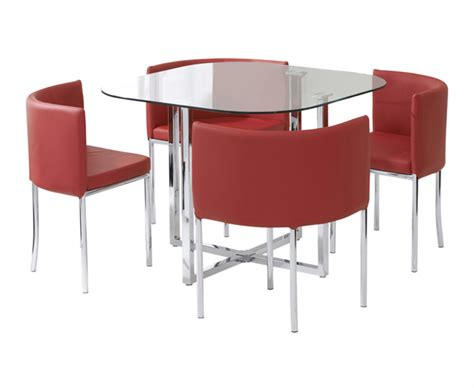 Stowaway Dining Table And Chairs Algarve Glass Stowaway Dining Table With High Back Chairs The Great Furniture Trading Company