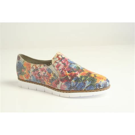 multi coloured flat shoes rieker rieker multi coloured floral slip on shoe with