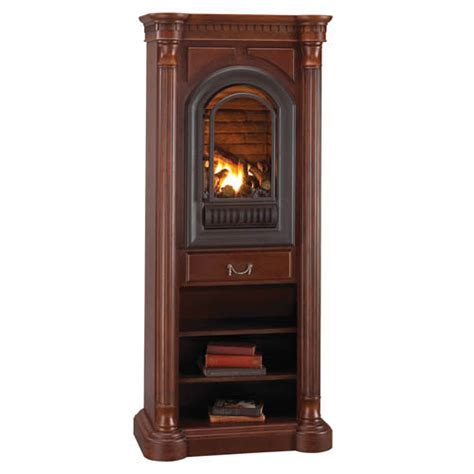 athens corner tower mantel with arched ventless fireplace